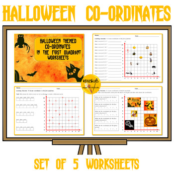 Co-Ordinates in the First Quadrant - Set of 5 Halloween Themed Worksheets