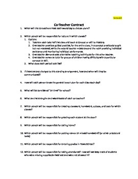 Co-Teacher Contract