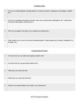 """Co-Teacher """"Getting To Know You"""" Questionnaire"""
