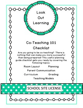 Co-Teaching 101 Planning Guide Checklist (School Site License)