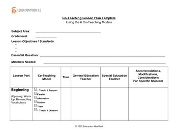 co teaching lesson plan template customizable tpt
