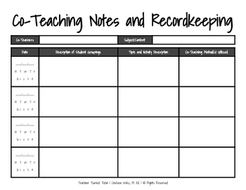 Co-Teaching Notes and Recordkeeping