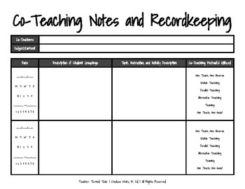 Co-Teaching Notes and Recordkeeping with Methods List