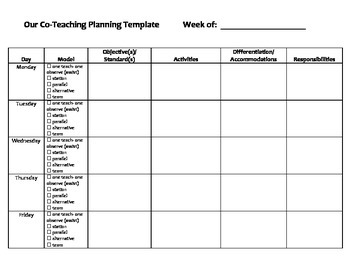 Co teaching planning template by bramble2 teachers pay for Day plan template for teachers