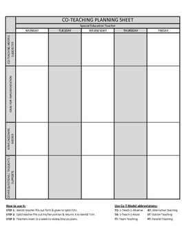 co teaching planning template version 2 of 3 by justin ford tpt