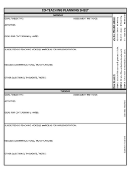 Co teaching planning template version 3 of 3 by justin for Cooperative learning lesson plan template