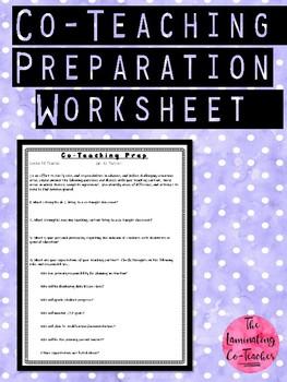 Co-Teaching Preparation Worksheet