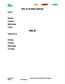 Co-Teaching/ Student Teaching Lesson Plan Template