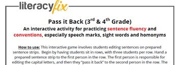 Co-operative Activity for Sentence Fluency and Conventions - Pass it Back