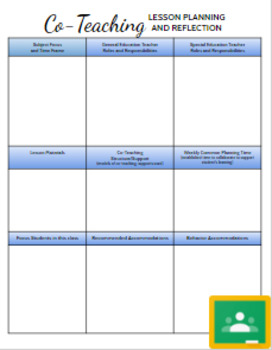 Co-teaching/Instructional Assistant Lesson Planning and Re