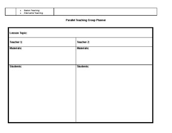 Co-teaching Planners/Graphic Organizers