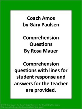 Coach Amos Gary Paulsen Book Reading Comprehension Questions