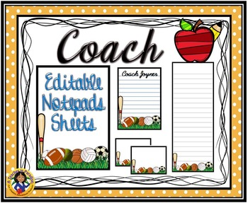 """Coach"" Notepad Sheets Set {Editable}"