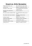 Coach Vs. Critic Activity - Scenarios