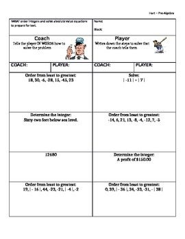 Coach and Player Integer Operations Partner Activity