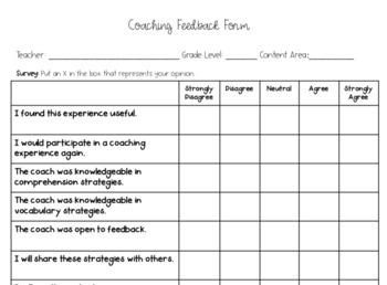 Coaching Feedback Form