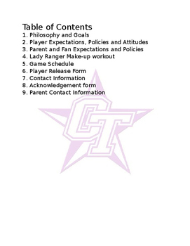 Coaching: Baseball/Softball/Team Sport Player Expectations Packet