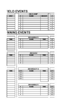 Track and Field Meet Lineup Spreadsheet- Must have tool for all track coaches!