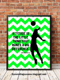 Volleyball Poster with Inspirational Quote Attitude, Sports Themed Classsroom