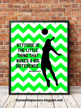 Volleyball Poster with Inspirational Quote Attitude, Sports ...