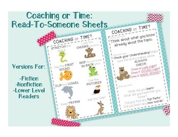 Coaching or Time Helper Sheets for Partner Reading