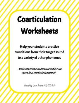 Coarticulation Worksheets