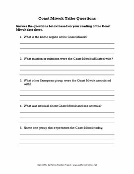 Coast Miwok Tribe Fact Sheet with Questions
