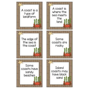 Coast and Beach Simple Fact Cards