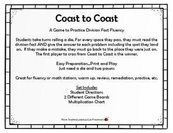 Coast to Coast Division Fact Fluency Game