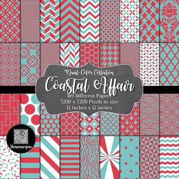 12x12 Digital Paper - Color Scheme Collection: Coastal Affair (600dpi)