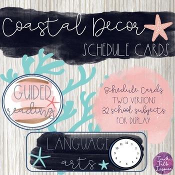 Schedule Cards Coastal Watercolor Version
