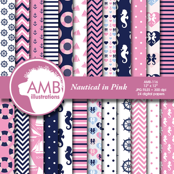 Digital Papers - Nautical pink papers, seahorse papers, AMB-116