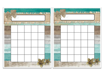 Coastal Shabby Chic Name Plate and Incentive Chart