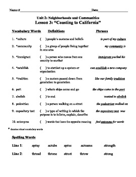 """""""Coasting  to California"""" Vocabulary List and Test for Treasures"""