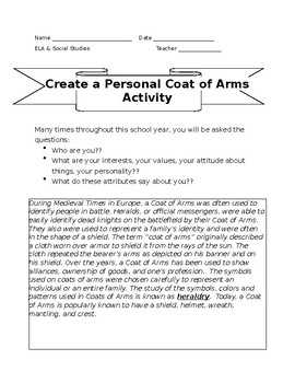 Coat Of Arms Project & Worksheets | Teachers Pay Teachers