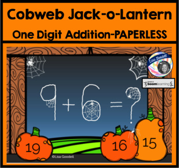 Cobweb Jack-o-Lantern One-Digit Addition BoomCards - Paperless