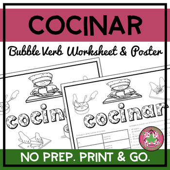Cocinar Bubble Verb Worksheet and Poster