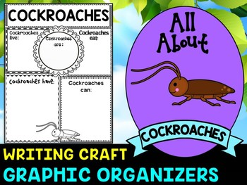 Cockroaches - Writing Craft and Graphic Organizers SET, Book Template, Insects