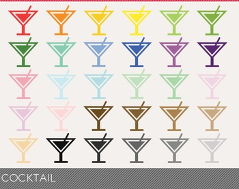 Cocktail Digital Clipart, Cocktail Graphics, Cocktail PNG, Rainbow Cocktail