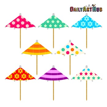 Cocktail Umbrellas Clip Art - Great for Art Class Projects!