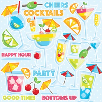 Cocktails clipart commercial use, vector graphics, digital