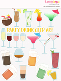 Cocktails clipart, party drinks clip art (LC20)