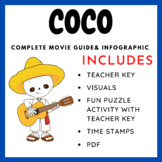 "Coco (2017) - Movie Guide, Puzzles, and ""Dia de los Muertos"" Infographic"