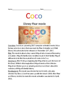 Coco Disney Movie - review article facts information lesson question word search