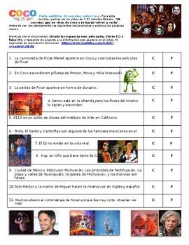 Coco Listening Activity in Spanish. Actividiad Auditiva en español sobre Coco.