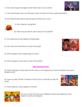 coco movie guide questions in english and spanish with answer key. Black Bedroom Furniture Sets. Home Design Ideas