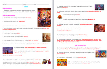 Coco Movie Guide Questions in English and Spanish with Answer Key