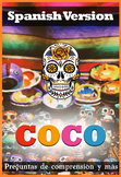 Coco Movie Guide in Spanish + Activities - Answer Key Included (Color + B/W)