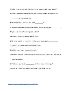 Coco Spanish Movie Questions By Sra Parrish Teachers Pay Teachers