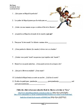 Coco movie -- Spanish day of the dead worksheet